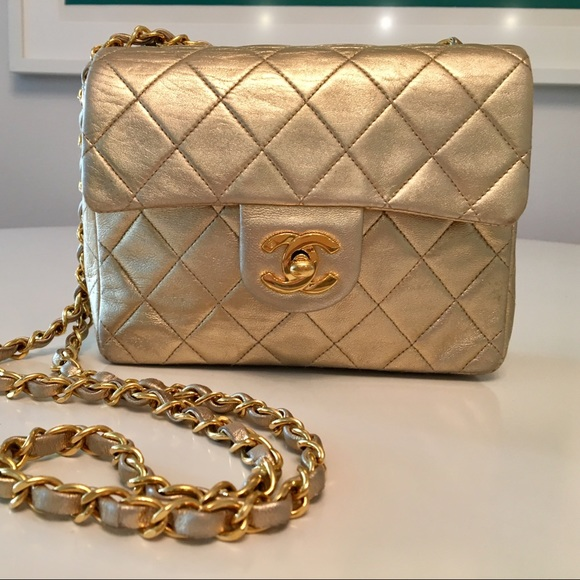 5436c765a2ff CHANEL Handbags - Rare Gold CHANEL quilted classic small bag.